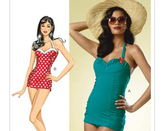 Butterick B6067 Misses' Vintage 1950s Style Ruched One-Piece Halter Swimsuit Sewing Pattern