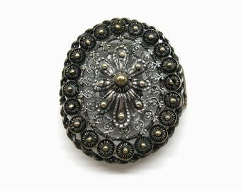 Antique filigree womens belt buckle   1900