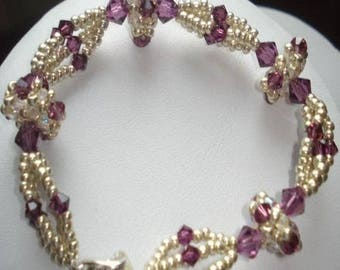 Bracelet purple pearl beads (made to order)