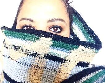 RAW Gold painted multi extra long scarf shawl wrap / Eve Damon