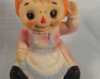 Vintage--1980s --Raggedy Ann-Ceramic Lamp Figurine