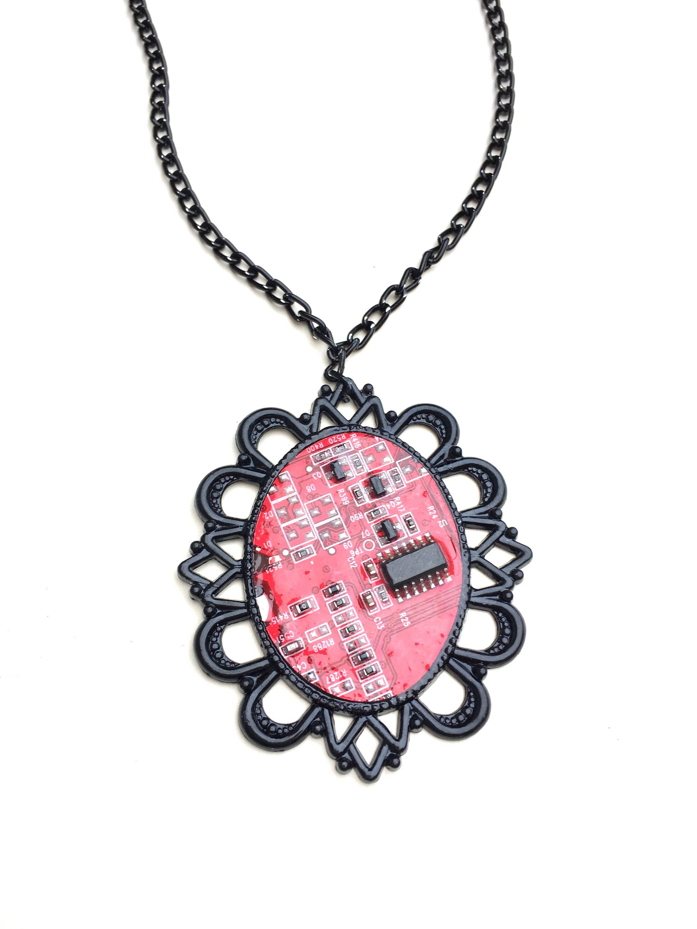 pendant s glass soldered stained red unisex women men pattern products flame necklace