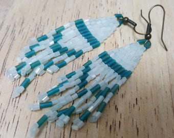 Sea blue and baby blue bugle bead earrings