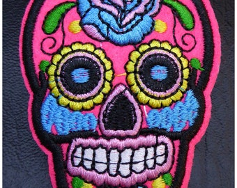 Embroidered patch fusible skull skull candy skull pinup 5.3 x 7.1 cm x 1 neon pink