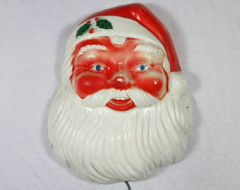 Vintage Mid Century Santa Face / Head / Lighted / Electric / Wall Decor / Hanging  / Plastic / Metal / 1950s 1960s / Christmas Decor