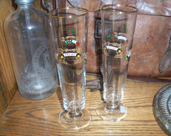 Pair of Lindemans Belgium Beer Barware Glasses Drinking Belgian Travel Display
