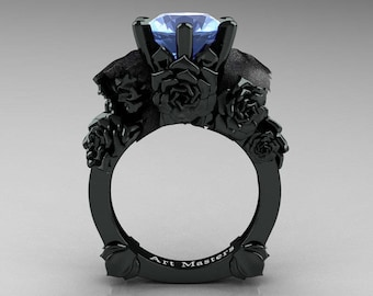 Love and Sorrow 5K Black Gold 3.0 Ct Blue Topaz Skull and Rose Solitaire Engagement Ring R713-5KBGBT