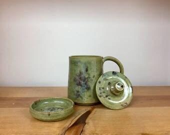 Handmade stoneware pottery steeping tea mug with lid and saucer