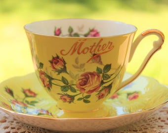 "QUEEN ANNE Fine Bone China Teacup and saucer Set ""Mother"""