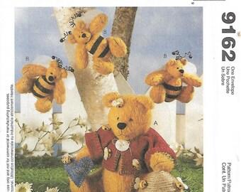 McCall's Crafts 9162 Homespun At Heart Designs Bee My Hunny Bear  Stuffed Bears Sewing Pattern 1998 Uncut