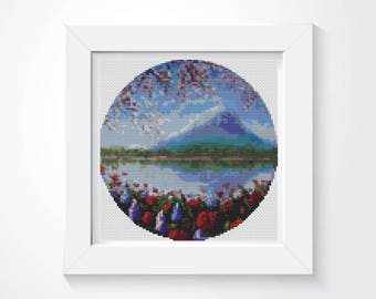 Cross Stitch Kit, Blue Mountain Cross Stitch, CIRCULAR Cross Stitch, Embroidery Kit, Art Cross Stitch (C013)