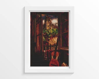 Music Cross Stitch Chart, Interior with a Guitar Cross Stitch Pattern PDF, Art Cross Stitch, Henri Le Fauconnier (FAUCO01)
