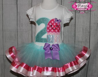 Octopus Under the Sea Birthday Ribbon Trimmed Tutu, Shirt and Bow Set Aqua, PInk