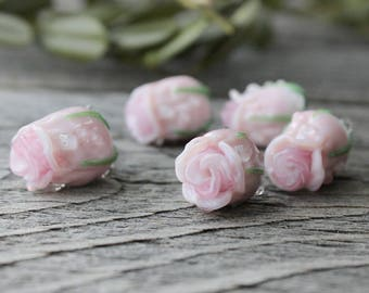 Handmade Flower Lampwork Beads, 1 pc light pink Rose, Lampwork Glass Beads, Floral Lampwork Beads, Lampwork, Lampwork Glass, Lampwork Flower