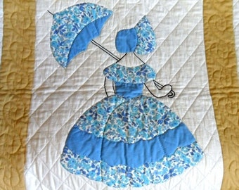 Vintage Quilt Sunbonnet Sue Parasol Quilt Hand Stitched Quilt Southern Belle Quilt Handmade Quilt Embroidered Quilt Hand Quilted Applique