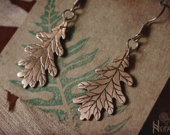 Oak leaf earrings -etched copper-