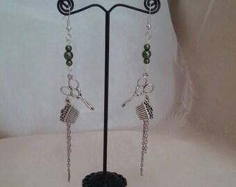 Green hairstylist earrings