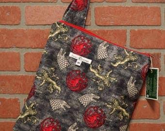 Cloth Diaper Wetbag, Game of Thrones, Diaper Pail Liner, Diaper Bag, Day Care Size, Holds 5 Diapers, Size Medium with Handle item #M96