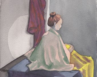 Sitting Woman Watercolor Painting One of A Kind