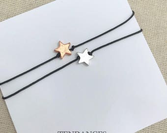 Silver or bronze star luck bracelet