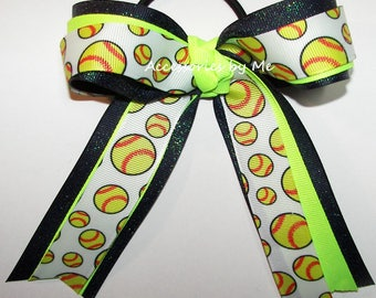Softball Hair Bow, Sparkly Ponytail Holder, Softball Neon Lime Navy Blue Glitter Bow, Glittery Navy Neon Lime Green Softball Bow, Bulk Bows