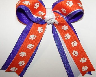Tigers Paw Print Bow, Clemson Cheer Bow, Orange Paw Soccer Hair Bow, Orange Purple Softball Bow, Clemson Tiger Team Bow, Bulk Paw Print Bows