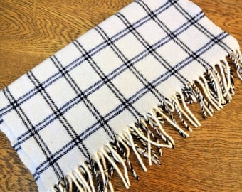 Vintage Amicale Scarf - Pure Cashmere - Vintage Unisex Scarf - Off White with Navy & Black Windowpane Checks - Made in USA - Mint Condition
