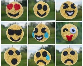 Emoji Keychain, Crochet Emojis Toy, Amigurumi Emoji, Mini Emoji Stuffies, Emoji Keyring, Stuffed Emojis Toy, Emoji Rattle Toy
