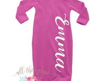 Personalized baby gift bodysuit bib personalized baby set personalized baby gown newborn hospital outfit baby shower gift hospital outfit take negle Choice Image