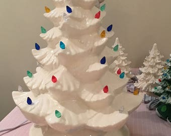 Ceramic Christmas tree handpainted by Joan Davis approximately 17 inches clear glaze