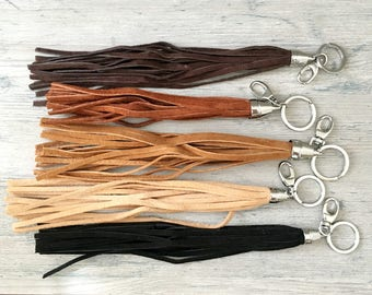 Leather fringe keyring - long purse accessory - tassel - key ring - cut to size