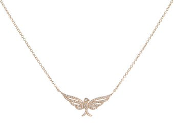 14k Gold Diamond Eagle/Freedom Necklace/Sky's the Limit/Bird Necklace/Graduation/Birthday/Bridal/Anniversary