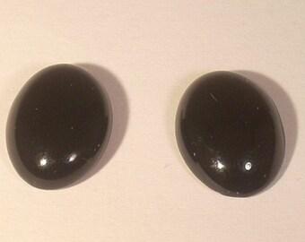 Set of 2 cabochon oval 14X10mm black glass