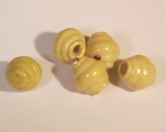 10 yellow striped round wood 10mm beads