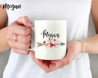 Custom Name Mug, Personalized Mug, Boho Name Mug, Arrow Name Mug, Floral Name Mug