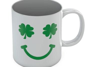 St. Patrick's Day Green Clover Smile Coffee Mug Lucky Shamrock Ceramic Mug