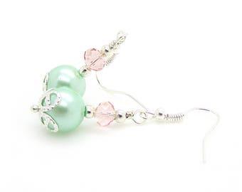 Pastel Mix Pearl Drop Earrings, Green and Pink Jewellery, Bridesmaid Earrings, Mint Green Wedding, Pink Crystal Earrings, Bridesmaid Gift