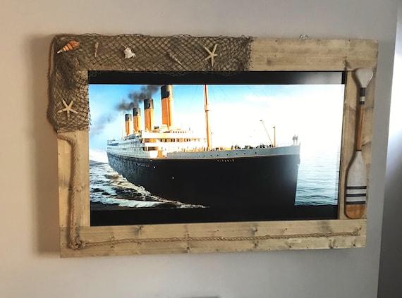 Custom Coastal Themed TV Frame