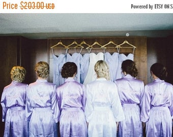 ON SALE Lilac Bridesmaid Robes Set of 7, Embroidered Robe, Getting Ready Robe, Wedding Robe Bridesmaid Gifts, Bridal Robes and Bride Robe