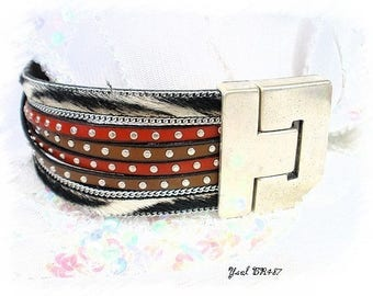 Mixed bracelet leather red extra large Yael BR487