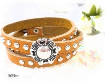orange leather studded and engraved silver button BR667 bracelet