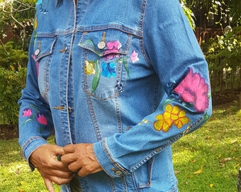 Flower Hand Painted Denim Jackets,, Acrylic Denim Jacket, Handmade Denim Jacket, Jacket with art work