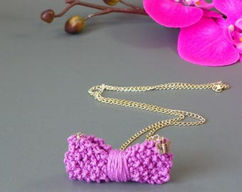 "Fantasy necklace ""Knitted knot stitch"" Purple cotton yarn, silver plated chain and Butterfly"