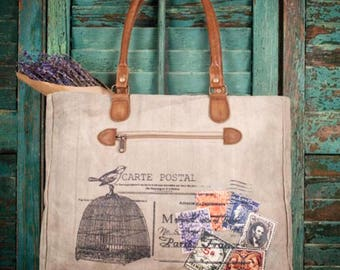 SALE- Carte Postal Tote Bag-Vintage Inspired Bag-Totes-Shoulder Bags-Womens Fashion-Womens Accessories-Bags