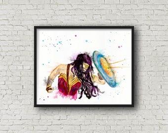 Wonder Woman art print: DC Comic art, Wonder Woman fan art, Gal Gadot, Superhero art, Wonder Woman wall decor, Justice League art, movie art
