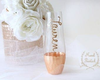 Rose Gold Champagne Flutes, Personalized Stemless Champagne Flutes, Bridesmaid Gift Box, Bridesmaid Proposal, Hand Painted Rose Gold Flutes
