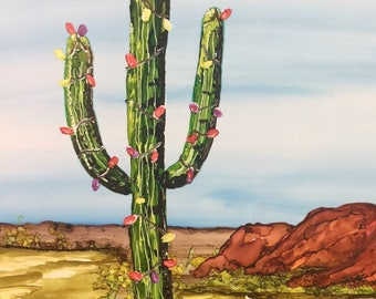 Christmas card, Arizona, cactus card, cactus art, Arizona art, alcohol ink, Saguaro cactus, Arizona Christmas, Southwestern card, cactus art