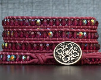 cranberry crystal on bright pink leather wrap bracelet - pomegranate - boho jewelry - deep pink