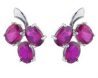 9 Ct Ruby Oval Shape Design Stud Earrings