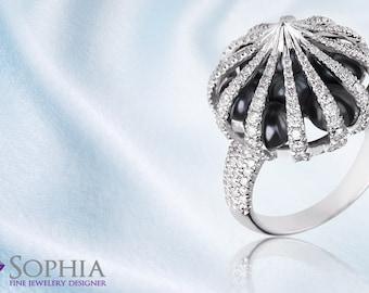Prestigious Pearl and Diamond Ring, Unique 14K Gold Ring, White Diamonds and Black Pearls, Pearls Ring, White Golden Dome, Luxury Ring